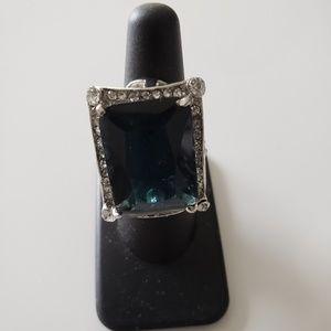 VINTAGE ☆ Aqua Stone/CZ Ring, Size 6, GORGEOUS!